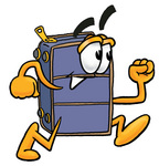 Clip Art Graphic of a Suitcase Luggage Cartoon Character Running