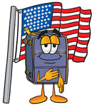 Clip Art Graphic of a Suitcase Luggage Cartoon Character Pledging Allegiance to an American Flag