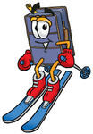 Clip Art Graphic of a Suitcase Luggage Cartoon Character Skiing Downhill