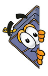 Clip Art Graphic of a Suitcase Luggage Cartoon Character Peeking Around a Corner