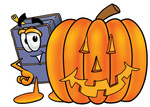 Clip Art Graphic of a Suitcase Luggage Cartoon Character With a Carved Halloween Pumpkin