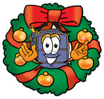 Clip Art Graphic of a Suitcase Luggage Cartoon Character in the Center of a Christmas Wreath