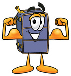 Clip Art Graphic of a Suitcase Luggage Cartoon Character Flexing His Arm Muscles