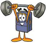 Clip Art Graphic of a Suitcase Luggage Cartoon Character Holding a Heavy Barbell Above His Head