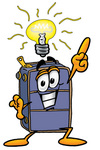 Clip Art Graphic of a Suitcase Luggage Cartoon Character With a Bright Idea