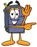 Clip Art Graphic of a Suitcase Luggage Cartoon Character Waving and Pointing