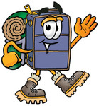 Clip Art Graphic of a Suitcase Luggage Cartoon Character Hiking and Carrying a Backpack
