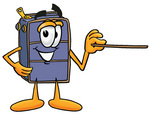 Clip Art Graphic of a Suitcase Luggage Cartoon Character Holding a Pointer Stick