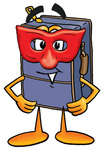 Clip Art Graphic of a Suitcase Luggage Cartoon Character Wearing a Red Mask Over His Face