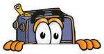 Clip Art Graphic of a Suitcase Luggage Cartoon Character Peeking Over a Surface
