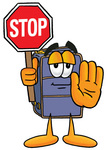 Clip Art Graphic of a Suitcase Luggage Cartoon Character Holding a Stop Sign