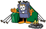 Clip Art Graphic of a Suitcase Luggage Cartoon Character Camping With a Tent and Fire