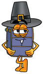 Clip Art Graphic of a Suitcase Luggage Cartoon Character Wearing a Pilgrim Hat on Thanksgiving