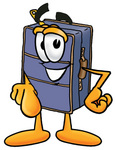 Clip Art Graphic of a Suitcase Luggage Cartoon Character Pointing at the Viewer