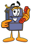 Clip Art Graphic of a Suitcase Luggage Cartoon Character Holding a Telephone