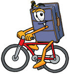 Clip Art Graphic of a Suitcase Luggage Cartoon Character Riding a Bicycle