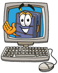 Clip Art Graphic of a Suitcase Luggage Cartoon Character Waving From Inside a Computer Screen