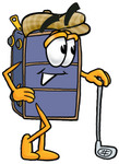 Clip Art Graphic of a Suitcase Luggage Cartoon Character Leaning on a Golf Club While Golfing