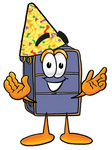 Clip Art Graphic of a Suitcase Luggage Cartoon Character Wearing a Birthday Party Hat
