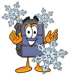 Clip Art Graphic of a Suitcase Luggage Cartoon Character With Three Snowflakes in Winter