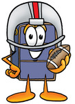 Clip Art Graphic of a Suitcase Luggage Cartoon Character in a Helmet, Holding a Football