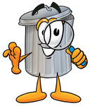 Clip Art Graphic of a Metal Trash Can Cartoon Character Looking Through a Magnifying Glass