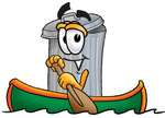 Clip Art Graphic of a Metal Trash Can Cartoon Character Rowing a Boat