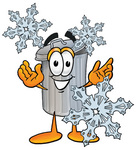 Clip Art Graphic of a Metal Trash Can Cartoon Character With Three Snowflakes in Winter