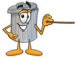 Clip Art Graphic of a Metal Trash Can Cartoon Character Holding a Pointer Stick