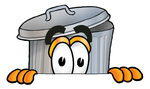 Clip Art Graphic of a Metal Trash Can Cartoon Character Peeking Over a Surface