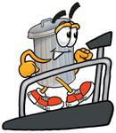 Clip Art Graphic of a Metal Trash Can Cartoon Character Walking on a Treadmill in a Fitness Gym