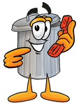 Clip Art Graphic of a Metal Trash Can Cartoon Character Holding a Telephone