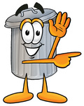 Clip Art Graphic of a Metal Trash Can Cartoon Character Waving and Pointing