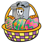 Clip Art Graphic of a Metal Trash Can Cartoon Character in an Easter Basket Full of Decorated Easter Eggs