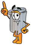 Clip Art Graphic of a Metal Trash Can Cartoon Character Pointing Upwards