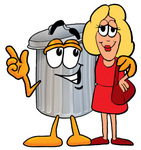 Clip Art Graphic of a Metal Trash Can Cartoon Character Talking to a Pretty Blond Woman