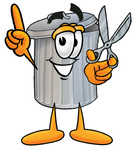 Clip Art Graphic of a Metal Trash Can Cartoon Character Holding a Pair of Scissors
