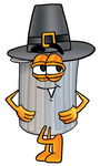 Clip Art Graphic of a Metal Trash Can Cartoon Character Wearing a Pilgrim Hat on Thanksgiving