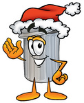 Clip Art Graphic of a Metal Trash Can Cartoon Character Wearing a Santa Hat and Waving