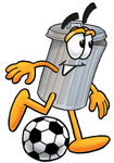 Clip Art Graphic of a Metal Trash Can Cartoon Character Kicking a Soccer Ball