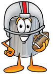 Clip Art Graphic of a Metal Trash Can Cartoon Character in a Helmet, Holding a Football