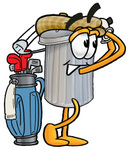 Clip Art Graphic of a Metal Trash Can Cartoon Character Swinging His Golf Club While Golfing
