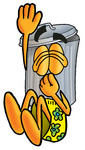Clip Art Graphic of a Metal Trash Can Cartoon Character Plugging His Nose While Jumping Into Water