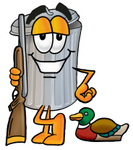 Clip Art Graphic of a Metal Trash Can Cartoon Character Duck Hunting, Standing With a Rifle and Duck