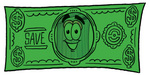 Clip Art Graphic of a Metal Trash Can Cartoon Character on a Dollar Bill