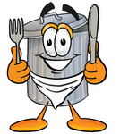 Clip Art Graphic of a Metal Trash Can Cartoon Character Holding a Knife and Fork