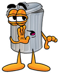 Clip Art Graphic of a Metal Trash Can Cartoon Character Whispering and Gossiping