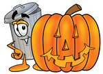 Clip Art Graphic of a Metal Trash Can Cartoon Character With a Carved Halloween Pumpkin