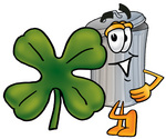 Clip Art Graphic of a Metal Trash Can Cartoon Character With a Green Four Leaf Clover on St Paddy's or St Patricks Day