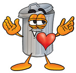 Clip Art Graphic of a Metal Trash Can Cartoon Character With His Heart Beating Out of His Chest